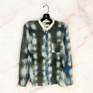 Athe Vanessa Bruno Silk Button Up Printed Top